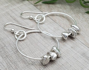 Sterling Silver Pebble Hoop Earrings / Rocks / Nature Lover