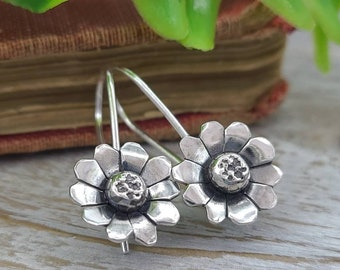 Sterling Silver Wildflower Threader Earrings / Daisy / Boho