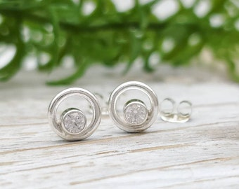 Small Sterling Circle  and Swarovski Crystal Stud Earrings / Post Earrings