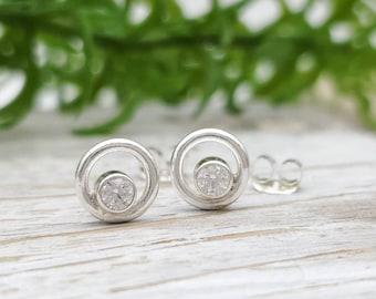 Small Sterling Circle  and Swarovski Crystal Stud Earrings / Post Earrings