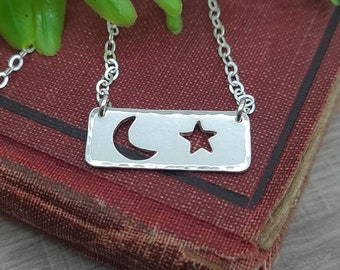 CUSTOM FOR CATHIE Sterling Shoot for the Stars Bar Necklace / Moon / Stars