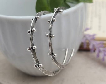 Rustic Sterling Hammered Hoop Earrings / Select your Size / Large / Medium / Small
