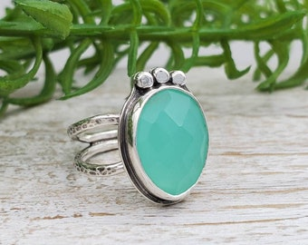 Sterling Silver & Aqua Chalcedony Ring
