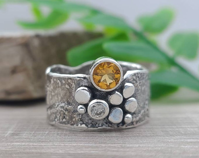 Featured listing image: Sterling Silver & Citrine Luna Fire Ring / One of a Kind / Solitaire / SIZE 8 1/2