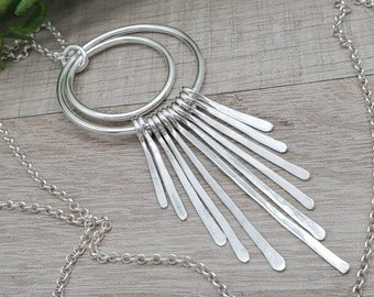 Long Sterling Silver Circle Fringe Necklace