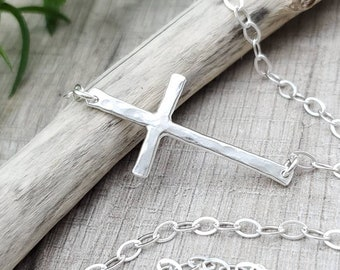 Sterling Silver Sideways Cross Necklace / Faith Necklace / Sideways Cross / Inspirational Jewelry