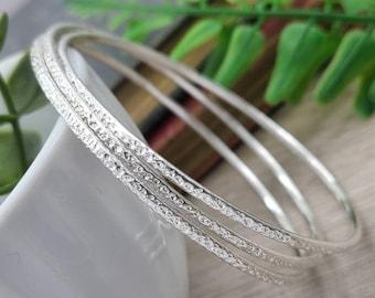 Sterling Silver Bangle Bracelet / Thin Bangles / Dainty