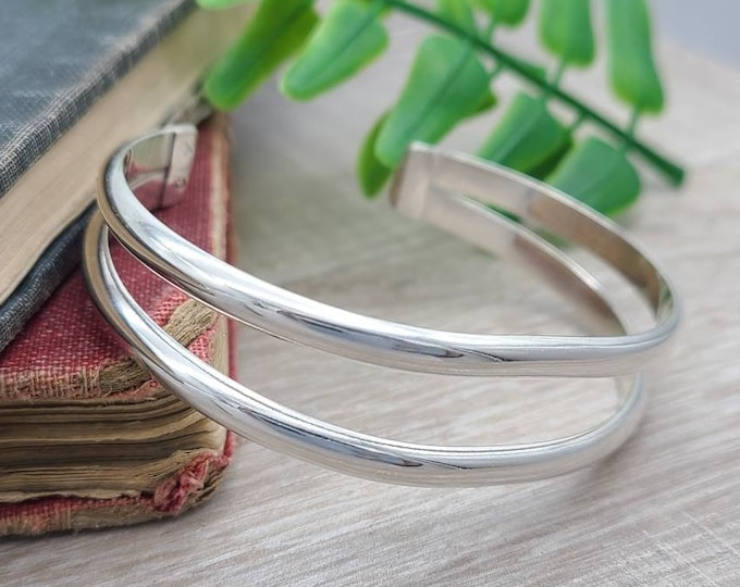 Featured listing image: Sterling Silver Double Cuff Bracelet / Heavy / Thick