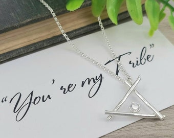 Sterling Silver You're my Tribe Teepee Necklace / Friendship /Best-friend / Family Necklace / Tribe / Bridesmaid /Mothers Day