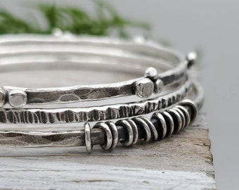 Rustic Sterling Silver Bangle Bracelet SET OF 3 / Hammered / Wrapped