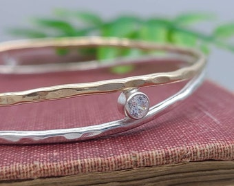 "Sterling Silver, Gold, and Crystal ""Orbit"" Bangle / Mix Metal / Two Tone"