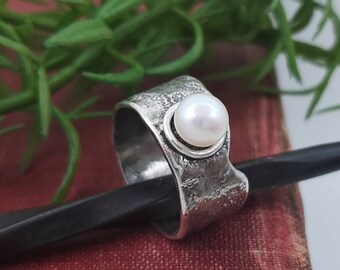 Sterling Silver & Pearl Wide Band Ring / One of a Kind / Size 8 1/2