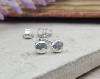 Small Sterling Hammered Stud Earrings