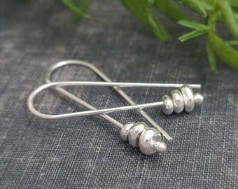 Sterling Silver Pebble Threader Earrings / Threaders / Thin Earrings
