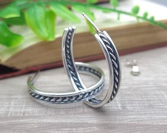 Sterling Wide Hoop Earrings / Large Hoops / Twisted / Ornate