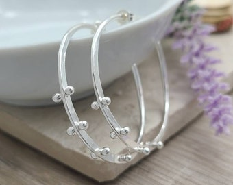 Sterling Hammered Hoop Earrings / Select your Size / Large / Medium / Small