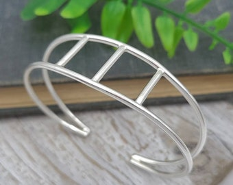 Sterling Silver Minimalist Geometric Cuff Bracelet