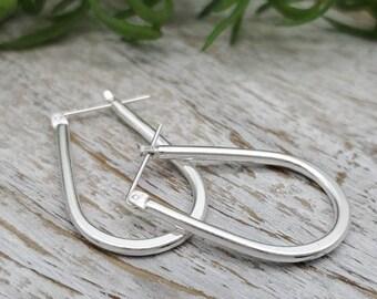 Sterling Silver Teardrop Hoop Earrings