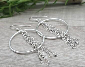 Sterling Silver Chain Hoop Earrings