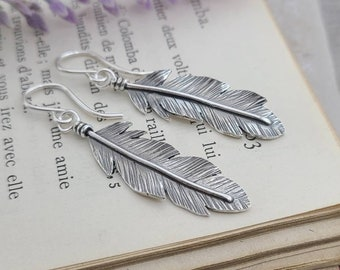 Sterling Silver Feather Earrings / Nature lover