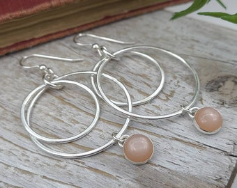Sterling Silver and Peach Moonstone Hoop Earrings / Large Hoops