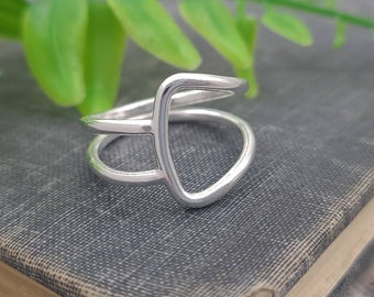 Sterling Silver Geometric Ring / Minimalist  / Square