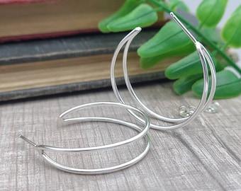 """1"""" Sterling Double Hoop Earrings"""