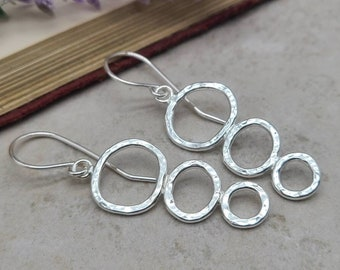 Sterling Organic  Hammered Circle Earrings