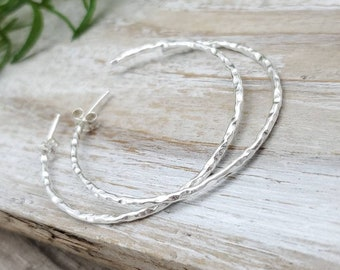 Sterling Hammered Hoop Earrings / Large Hoops/ Faceted