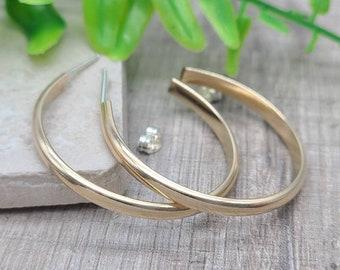 Gold Hoop Earrings / 3/4 Inch / 1 Inch / 1.5 Inch / 2 Inch