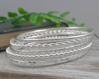 Sterling Silver Bangle Bracelet / Hammered / Smooth / Twisted / Faceted / Beaded