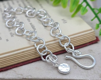 Sterling Silver Chain Link Bracelet / Hand Forged / Thick