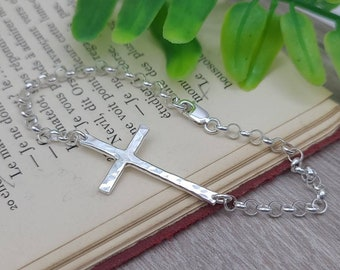 Sterling Hammered Sideways Cross Bracelet / Faith Bracelet / Sideways Cross / Inspirational Jewelry / Adjustable Bracelet