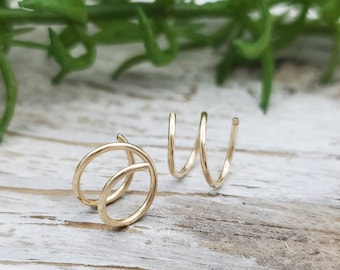 Gold Small Huggie Hoop Earrings / Hugger / Tiny Hoops