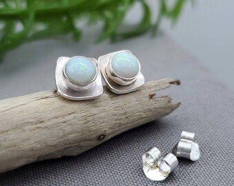 Sterling Opal Square Stud Earrings