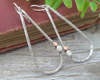 Sterling Silver and Copper  Hammer Teardrop Earrings