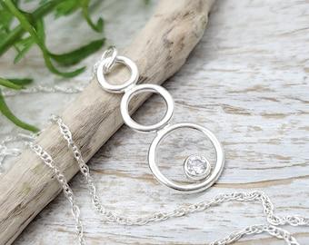 Sterling Circles & Swarovski Crystal Necklace