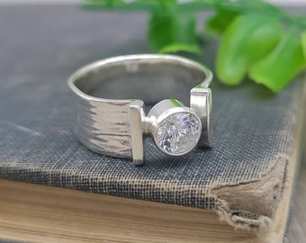 Sterling Silver & Swarovski Crystal Statement Ring / Diamond
