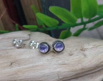 Sterling Tanzanite Luna Fire Stud Earrings