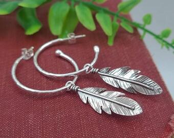 Sterling Silver Hoop Earrings / Feather Hoops / Removable