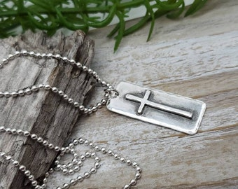 MENS Sterling Silver Cross  Necklace / Rugged Cross / Faith  / Dog Tag