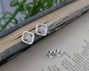 Small Sterling Square and Swarovski Crystal Stud Earrings / Post Earrings