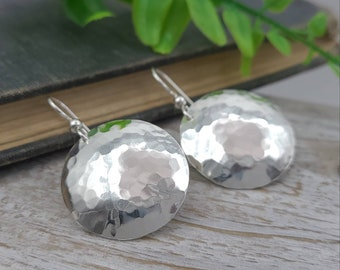 Sterling Hammered Round Disc Earrings / Domed Disc Earrings / Large Disc Earrings