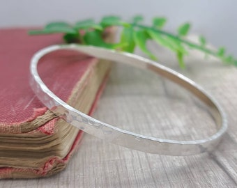 Sterling Silver Wide Hammered Bangle / Chunky