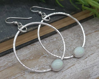 Sterling Opal Hoop Earrings / Large Hoops