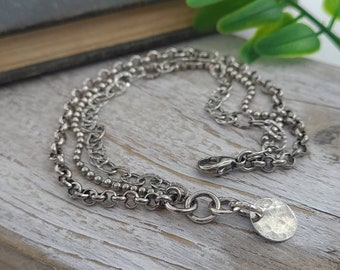Rustic Multi Chain Bracelet / Sterling Textured Link Bracelet / Layered