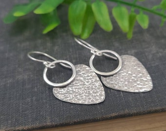 Sterling Hammered  Disc Earrings