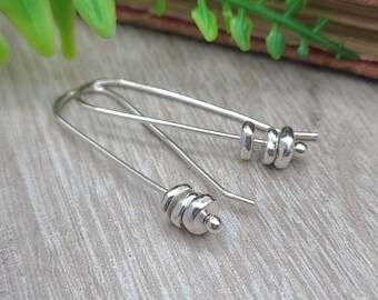 Sterling Silver Pebble Threader Earrings / Threaders / Thin Earrings