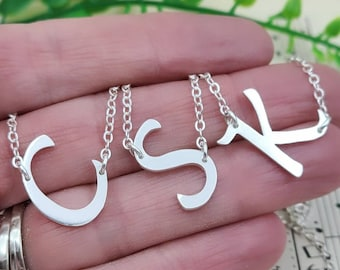 Sterling Silver Sideways Initial Pendant Necklace