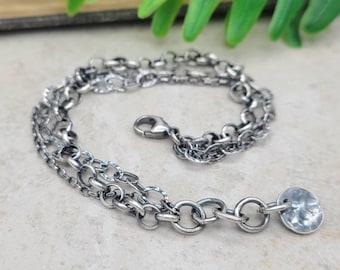 Rustic Multi Chain Bracelet / Sterling Textured Link Bracelet / Layered